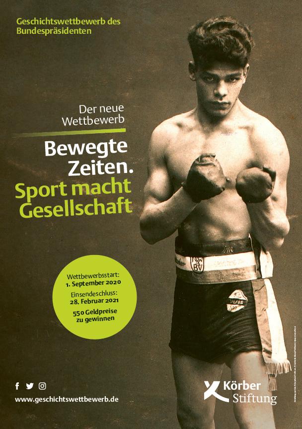 """Plakate zum Geschichtswettbewerb des Bundespräsidenten 2020/21. Ein Boxer unter der Überschrift: """"Bewegte Zeiten. Sport macht Gesellschaft."""""""