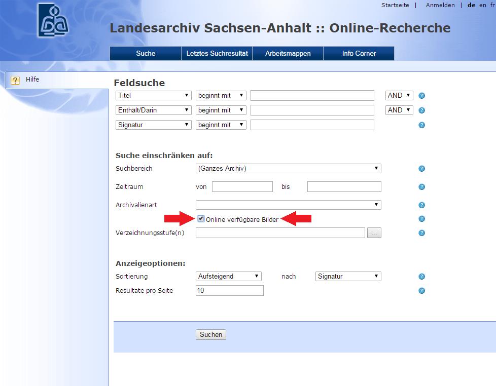 Bildschirmfoto der Query-Suchmaske mit Hervorhebung des Kriteriums »Online verfügbare Bilder«